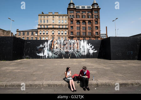 Tiger street art Mural on wall in central Glasgow, Scotland , United Kingdom - Stock Photo