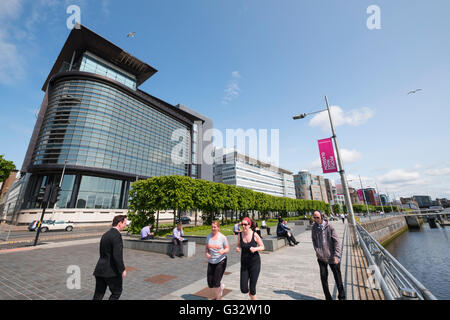 Office workers on lunch break at Broomielaw new business and financial district in Glasgow United Kingdom - Stock Photo