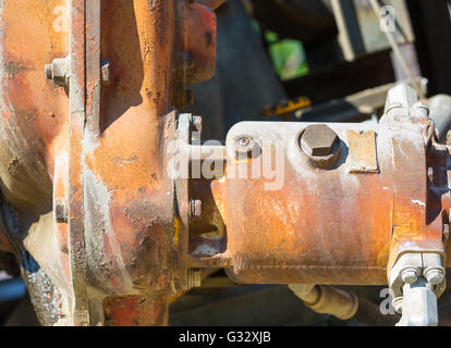 detail image of a piece of a construction equipment machinery - Stock Photo