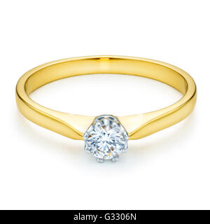 Yellow - white gold ring with diamond on white background. - Stock Photo