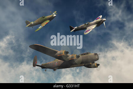A British RAF,Avro Lancaster Bomber, & A Supermarine Spitfire,& Hawker Hurricane Fighters. - Stock Photo