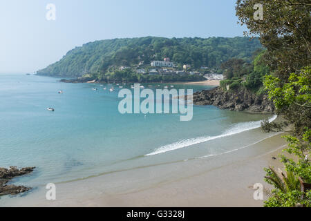 View towards Bolt Head from North Sands near Salcombe in Devon - Stock Photo