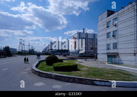 View of the Chernobyl plant inside the Chernobyl Exclusion Zone in Ukraine on 04 June 2016. The Chernobyl accident - Stock Photo