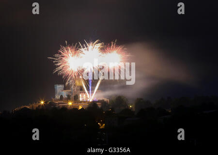 Torre Alfina, Italy, fireworks above the Castello di Torre Alfina - Stock Photo