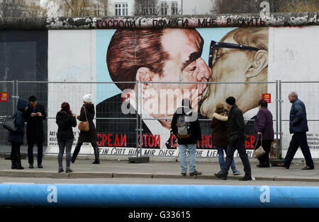 Berlin, Germany, people on the East Side Gallery - Stock Photo