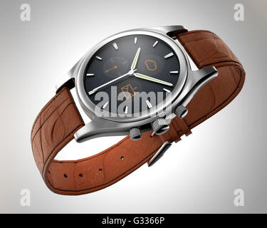 Analogue wristwatch with digital touch screen.  Smart watch concept. - Stock Photo