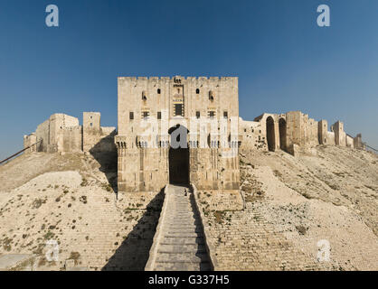 Citadel of Aleppo. Aleppo, northern Syria. The inner gate of the citadel. - Stock Photo