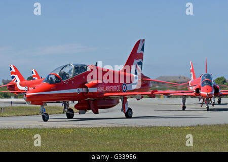 Red Arrows RAF Aerobatic Team - Stock Photo
