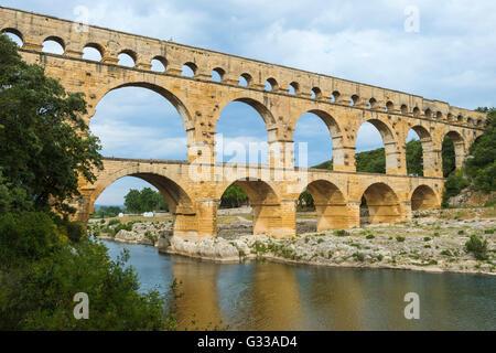 Pont du Gard, Languedoc Roussillon region, France, Unesco World Heritage Site - Stock Photo