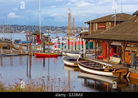 Center for Wooden Boats on Lake Union on March 22, 2016 in Seattle, WA, USA. - Stock Photo