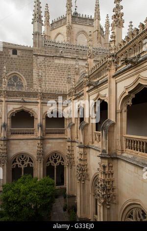 Monastery of Saint John of the Kings in Toledo Spain architect Juan Guas interior cloister and garden - Stock Photo