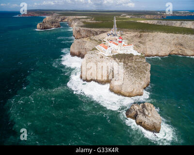 Sagres Lighthouse at Saint Vincent Cape (Cabo Sao Vicente) - most South-western point of Continental Europe, Algarve, - Stock Photo