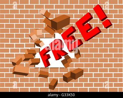 Scattering broken brick wall illustration of breaking free and freedom - Stock Photo