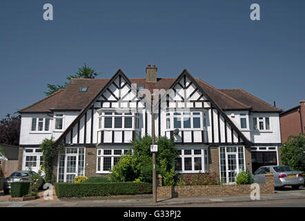 matching semi-detached mock tudor houses in strawberry hill, twickenham, middlesex, england - Stock Photo