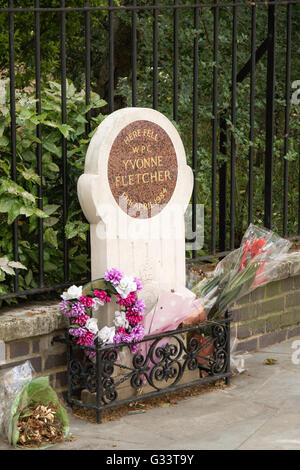 London, United Kingdom - June 5th, 2016: The memorial to WPC Yvonne Fletcher, shot outside the Libyan embassy in - Stock Photo