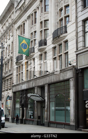 London, United Kingdom - June 5th, 2016: The Brazilian embassy in London, located at 14/16 Coskspur Street. - Stock Photo