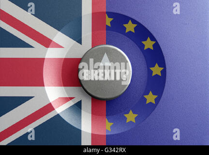 Brexit dial pointer between british and european flags - Stock Photo