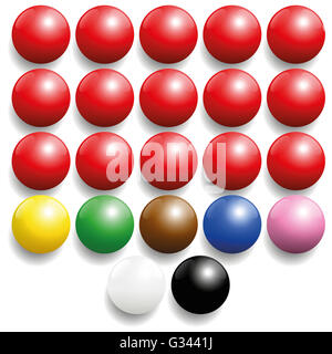 Snooker balls set - commonly used colors. Three-dimensional illustration on white background. - Stock Photo