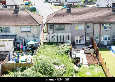 1950s Houses airal view of a row of 1950s council houses, back gardens with an