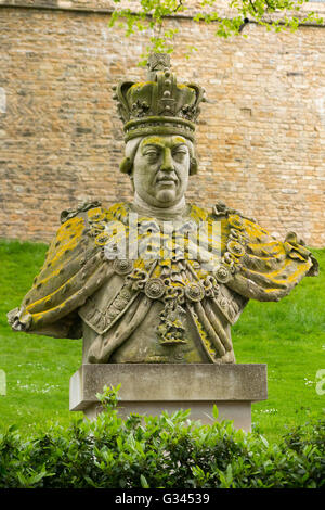 Bust / stone statue of King George III / George 3rd / third, in grounds of Lincoln Castle. UK. – Originally an inland - Stock Photo