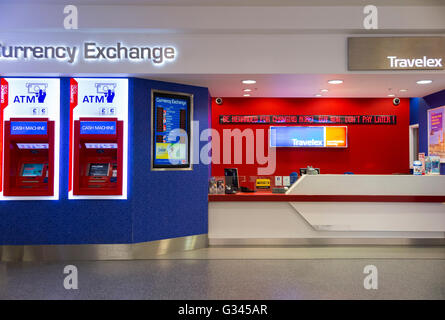 Bureau de Change office operated by Travelex at London City Airport. London. UK. - Stock Photo