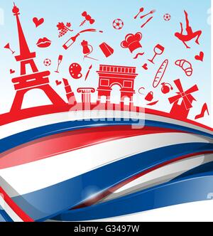 france background with flag and symbol - Stock Photo