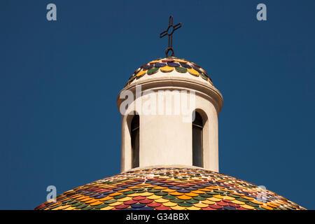Colourful dome of Chiesa Di San Paolo, Saint Paul's Church, Olbia, Sardinia, Italy - Stock Photo
