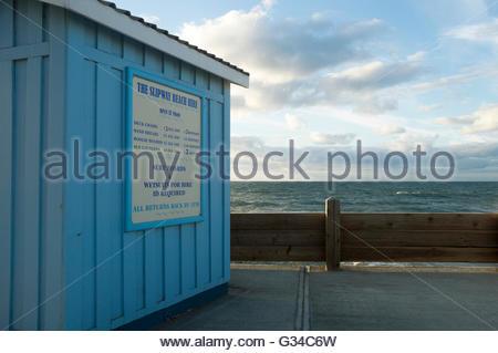 The Slipway Beach Hire hut at Westward Ho!, North Devon, England - Stock Photo