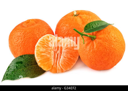 Tangerines organic fruits with leaves isolated on white background. - Stock Photo