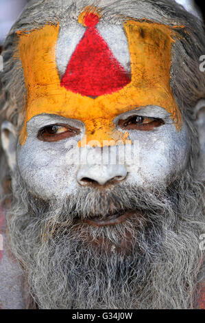 Kathmandu, Nepal. 07th June, 2016. A Portrait of Sadhu (a holy man) at the premises of Pashupatinath Temple, Kathmandu, - Stock Photo