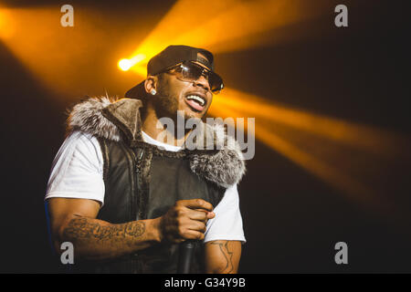 Manchester, London, UK. 8th June, 2016. Rapper NELLY performs at the O2 Ritz in Manchester on his 'The Fix' Tour - Stock Photo