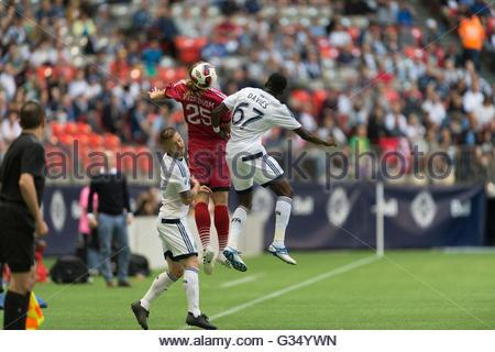 Vancouver, Canada. 8 June, 2016. Vancouver Whitecaps midfielder Alphonso Davies (67) and Ottawa Fury FC midfielder - Stock Photo