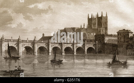 Westminster Bridge, bridge over the River Thames, 18th century, London, England - Stock Photo