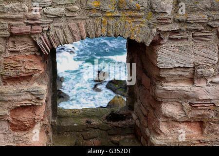 Stonework at Tantallon castle - Stock Photo