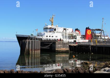 Caledonian Macbrayne ferry at Brodick ferry terminal on the Isle of Arran waiting to sail to Ardrossan across the - Stock Photo