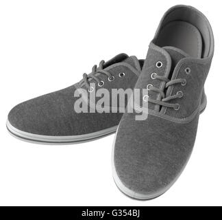 Grey sneakers isolated on white background - Stock Photo