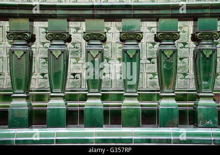 Art Nouveau Pilkington tiles at the historic Victoria Baths in Manchester - Stock Photo