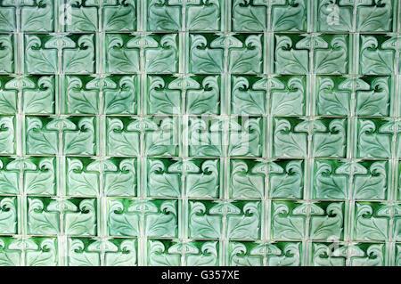 Art Nouveau Green Glazed Pilkington Tiles at the Historic Victoria Baths in Manchester - Stock Photo
