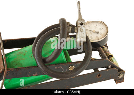 Old foot pump isolated on white background - Stock Photo