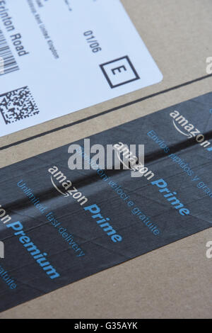 Amazon prime tape on parcel from amazon stock photo 126294031 alamy amazon prime logo printed on a cardboard box stock photo reheart Images