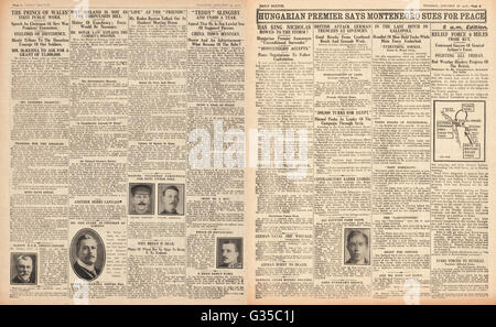 1916 Daily Sketch pages 2 & 3 Montenegro surrenders to Austria-Hungary - Stock Photo