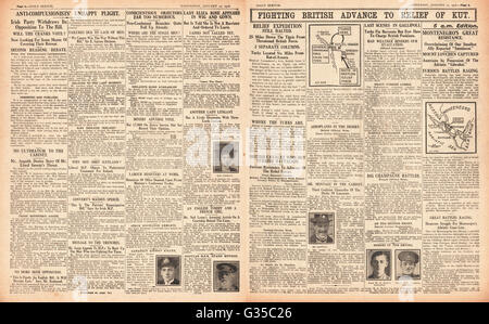 1916 Daily Sketch pages 4 & 5 British army advance on Kut - Stock Photo