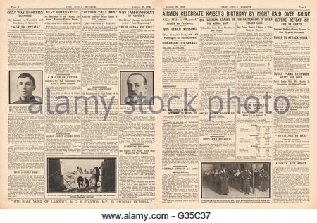 1916 Daily Mirror pages 2 & 3 Allied airmen bomb town of Freiburg - Stock Photo