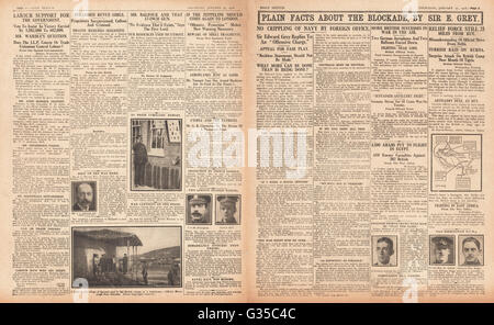 1916 Daily Sketch pages 2 & 3  British naval blockade on Germany - Stock Photo