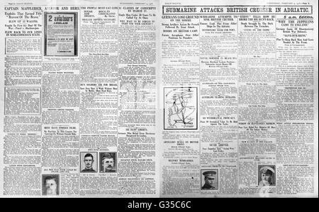 1916 Daily Sketch pages 2 & 3  Submarine attacks British cruiser in the Adriatic - Stock Photo