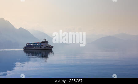 Passenger Ferry Boat on Lake Iseo in Italy - Stock Photo