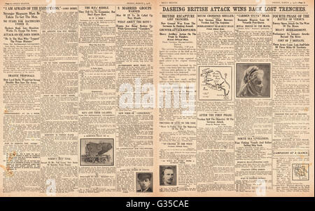 1916 Daily Sketch pages 2 & 3 British army gain ground at Ypres - Stock Photo