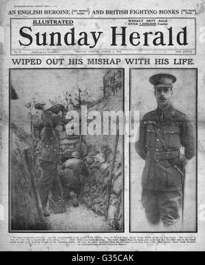 1916 Sunday Herald front page Alfred Victor Smith VC - Stock Photo