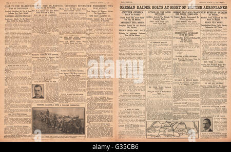 1916 Daily Sketch pages 2 & 3  German aeroplane chased off Kent Coast - Stock Photo