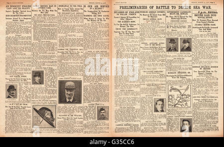 1916 Daily Sketch pages 2 & 3 Possible German invasion of England - Stock Photo